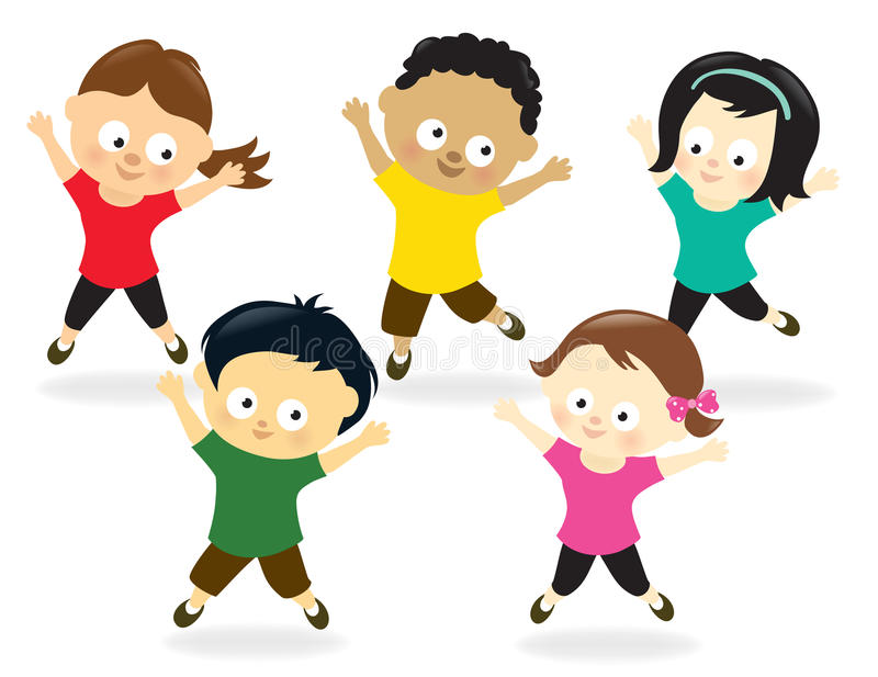 Kids Jumping Stock Illustrations.