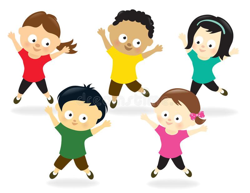 Kids Jumping Stock Illustrations.