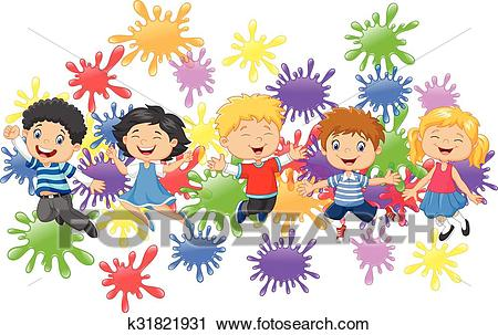 Cartoon little kids jumping Clipart.