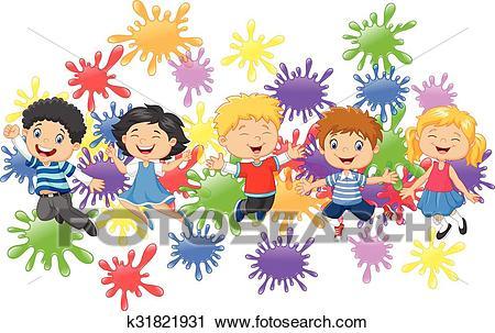 Cartoon little kids jumping Clipart.