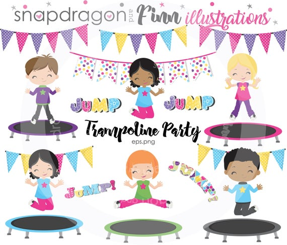 BUY5GET5 Trampoline clipart, Trampoline Party clipart, Jump clipart,  Trampoline clip art, Trampoline kids clipart, Jumping kids.