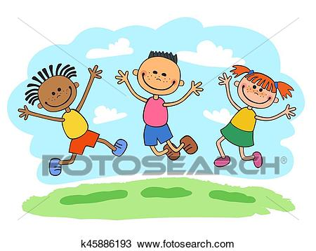 Vector Illustration of Stick Kids Jumping together Clipart.