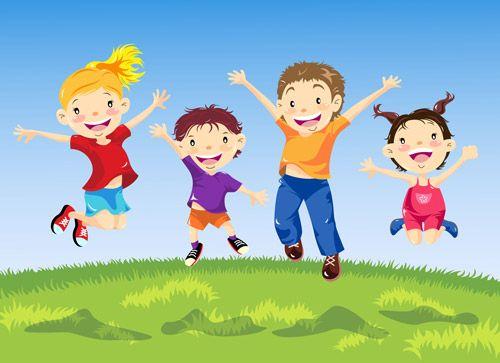 cartoon kids jumping.