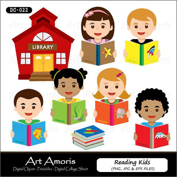 Reading Kids, Clipart, Digital Clip Art, Education Book Clip Art.