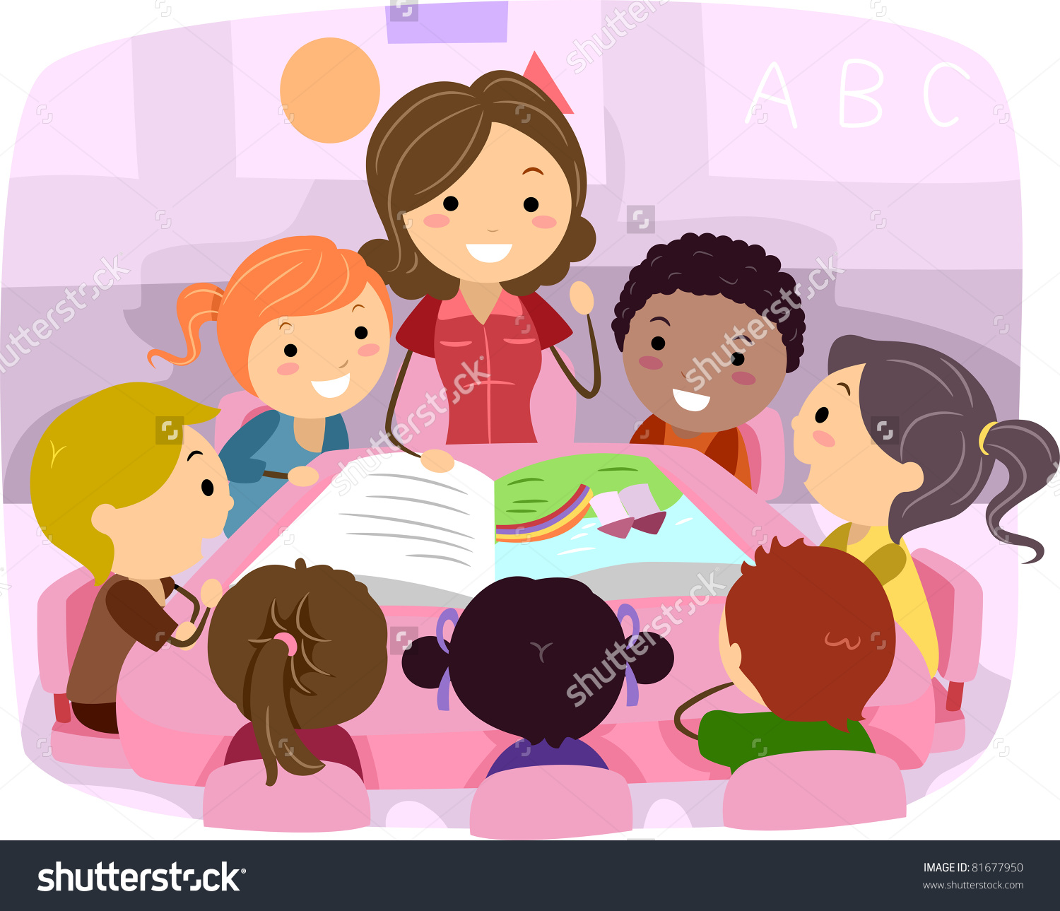 Illustration Kids Listening Story Stock Vector 81677950.