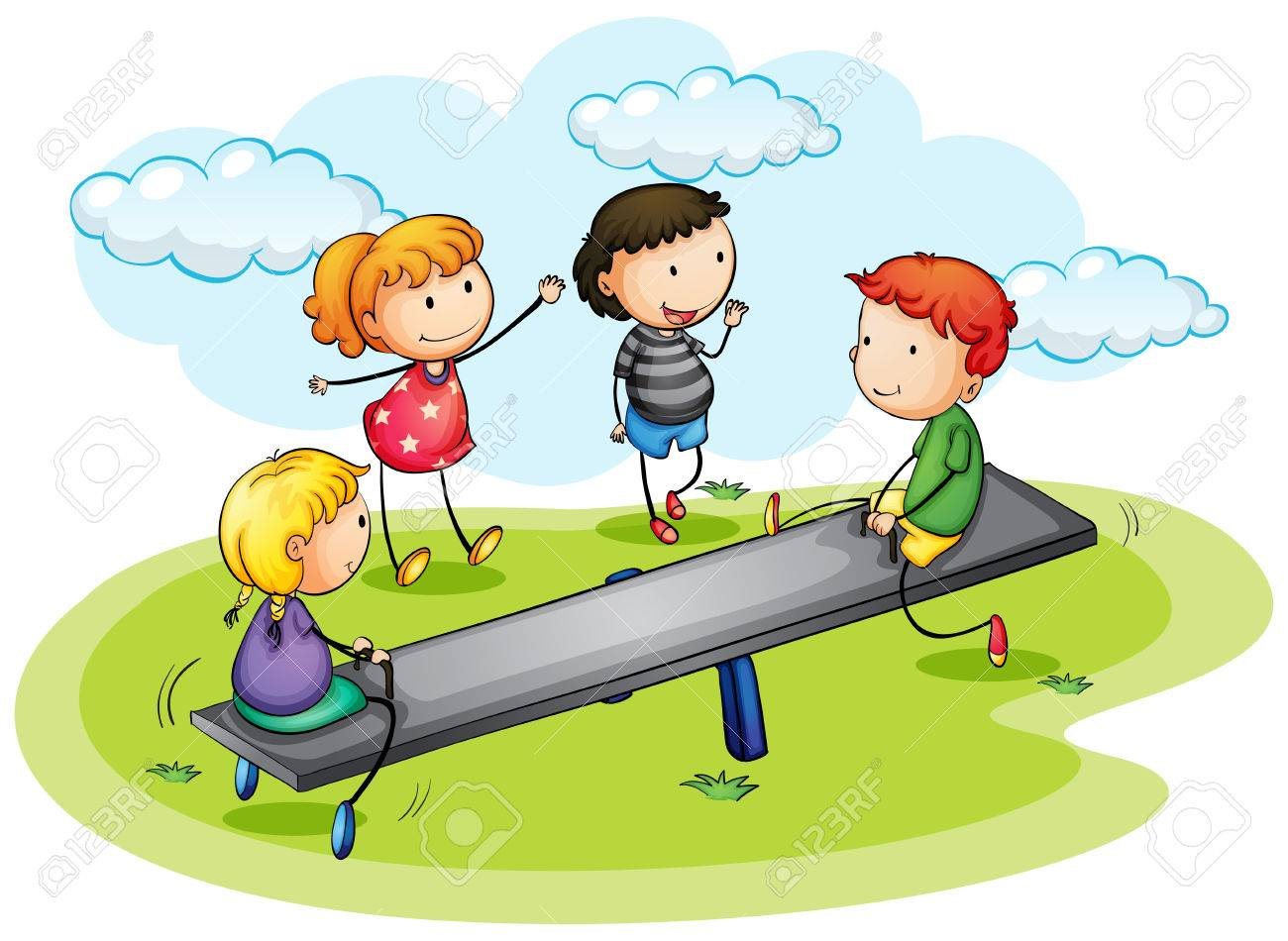 Kids playing seesaw in the park illustration.