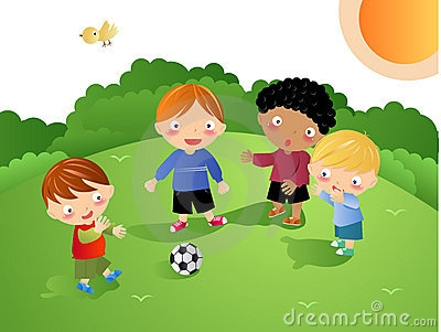 Kids Playing Football Clipart.