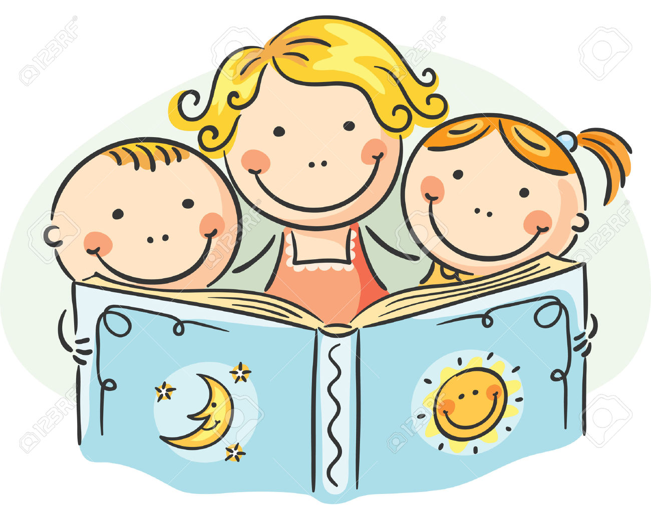 Happy Mother And Kids Reading Together Royalty Free Cliparts.