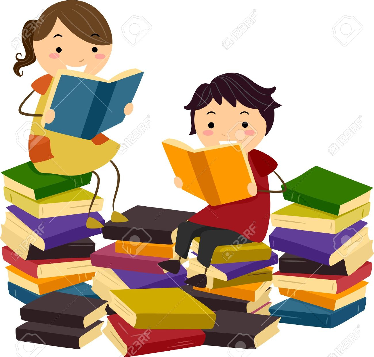 clipart kids reading together #2