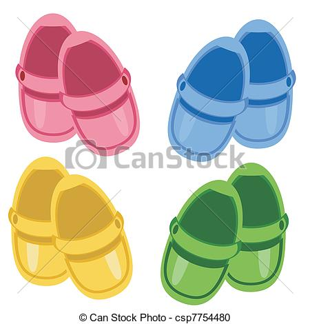 Vector Clip Art of Children pink shoes.