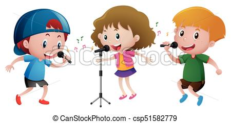 Three kids singing on microphone.