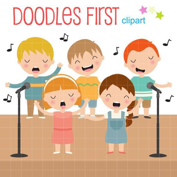 Singing Kids Digital Clip Art for Scrapbooking Card Making Cupcake Toppers  Paper Crafts.