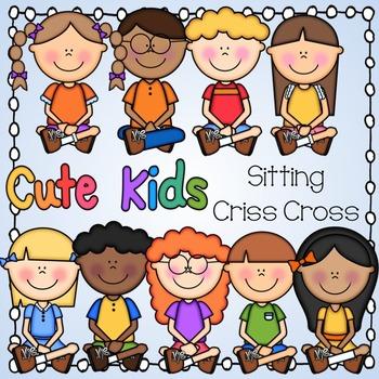 Cute Kids Sitting Criss Cross.