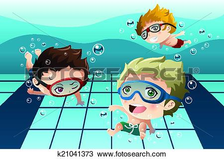Clipart of Kids having fun in the swimming pool k21041373.