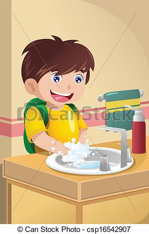 Clipart of Kid Washing Hands.