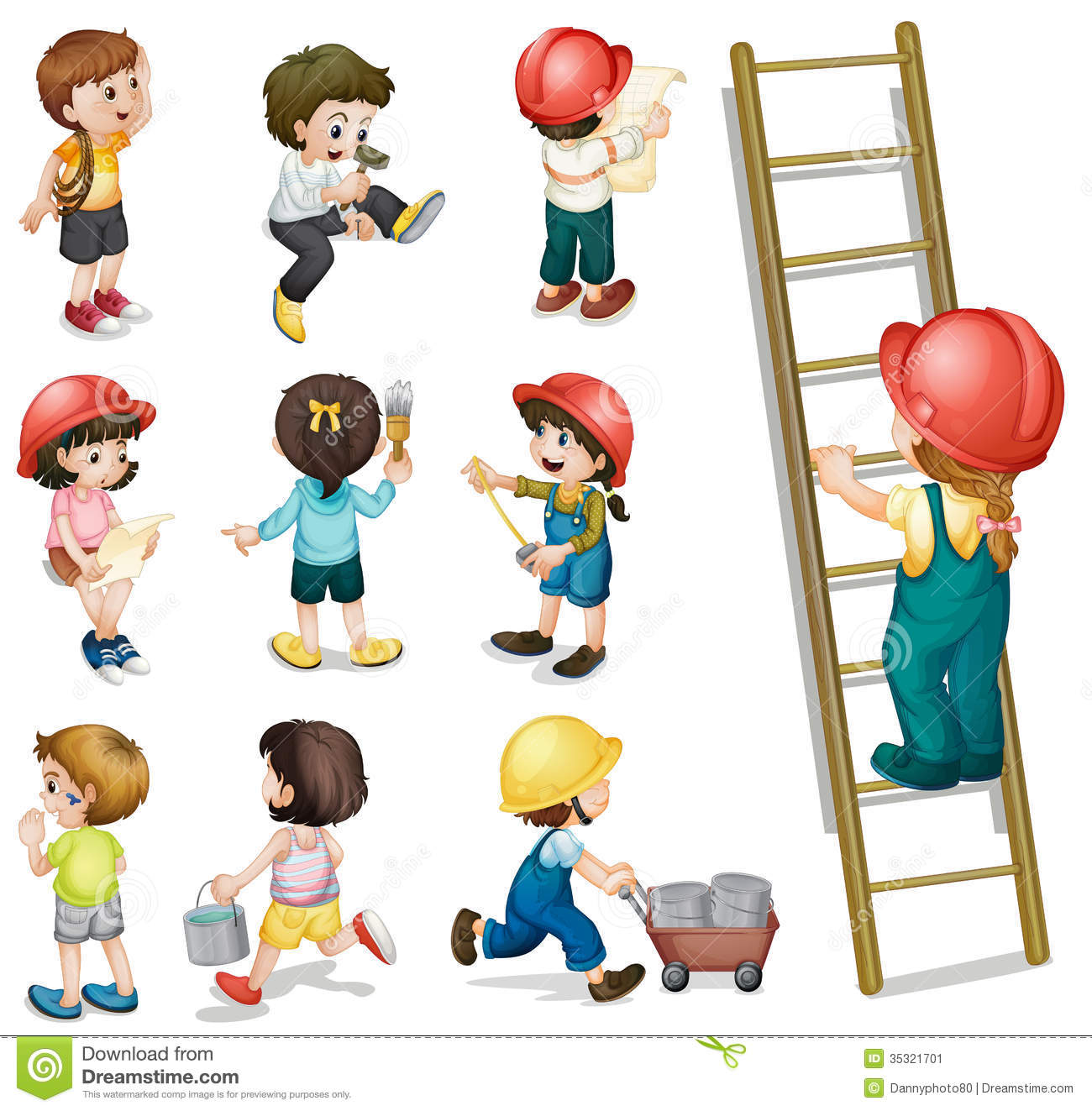 Kids Working Stock Image.