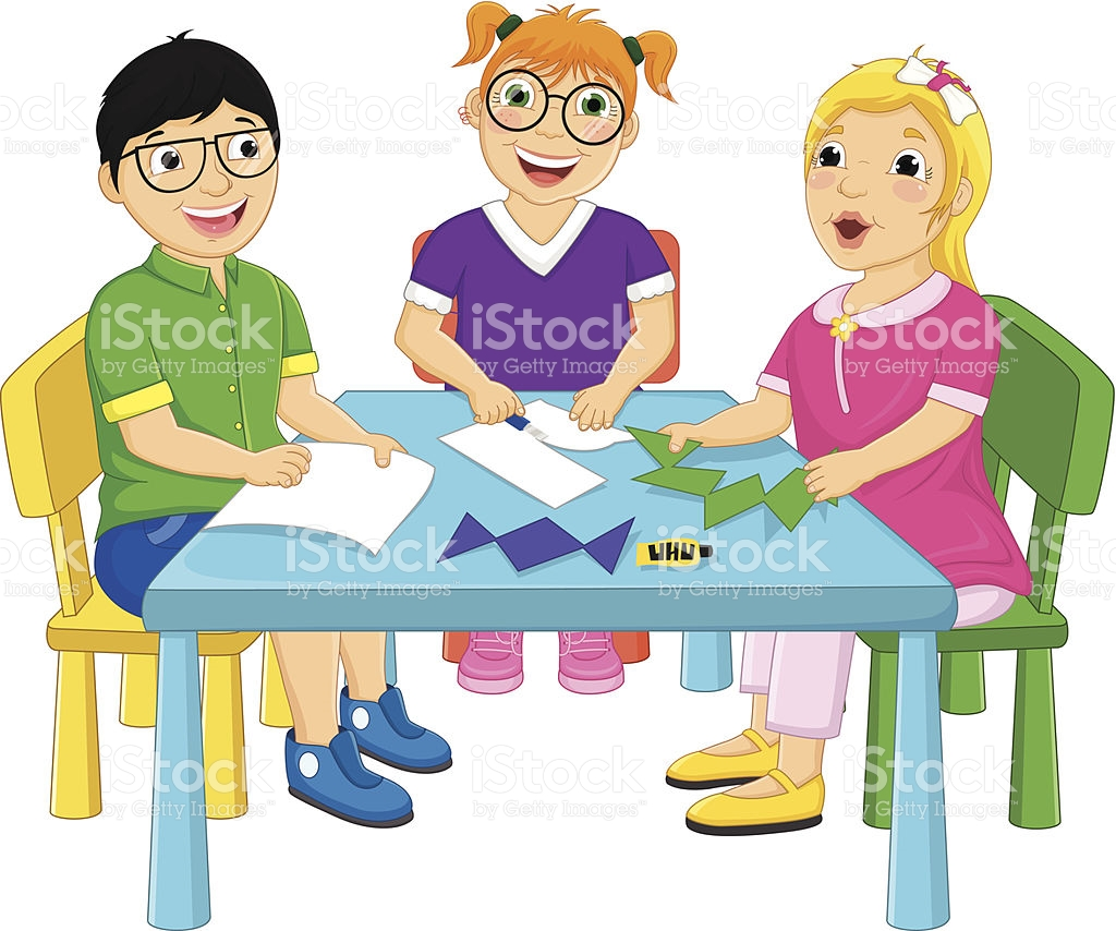 Kids Working On Table Vector Illustration stock vector art.