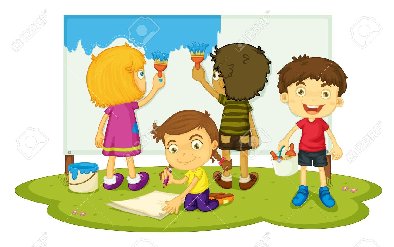 Illustration Of Four Children Painting Royalty Free Cliparts.
