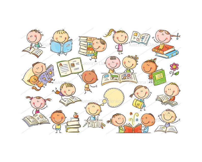 Kinder und Bücher, Clipart Kinder Abbildung Kinder Vektor Kinder, digitale  Kinder, Clipart Doodle, ClipArt.