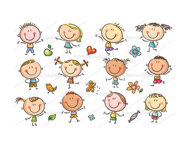 Glücklich Doodle Kinder, Kinder Clipart, Kinder.