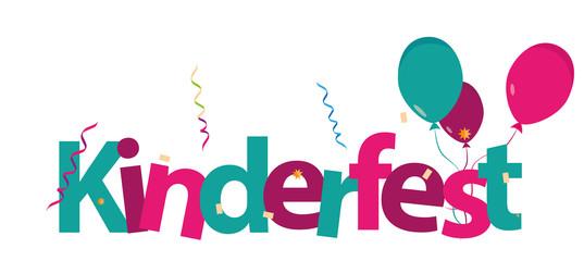 Kinderfest bunter Schriftzug Buchstaben Vektor Luftschlangen.