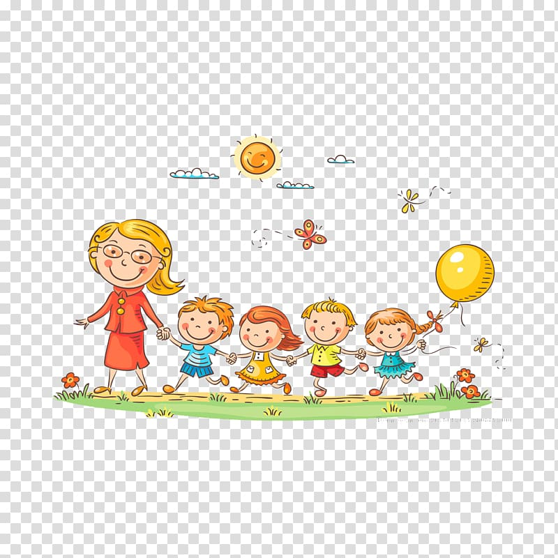 Woman and four kids walking illustration, Kindergarten.
