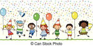 Cute cartoon kids frame. celebrating birthday party..