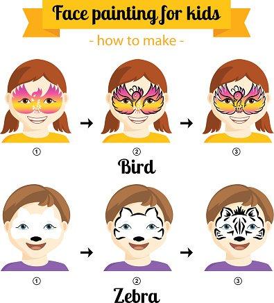 Kinderschminken für Mädchen 3 Clipart Image.