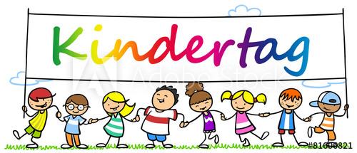 Viele Kinder feiern Kindertag zusammen.