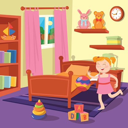Happy Girl Playing Ball in Children Bedroom Clipart Image.