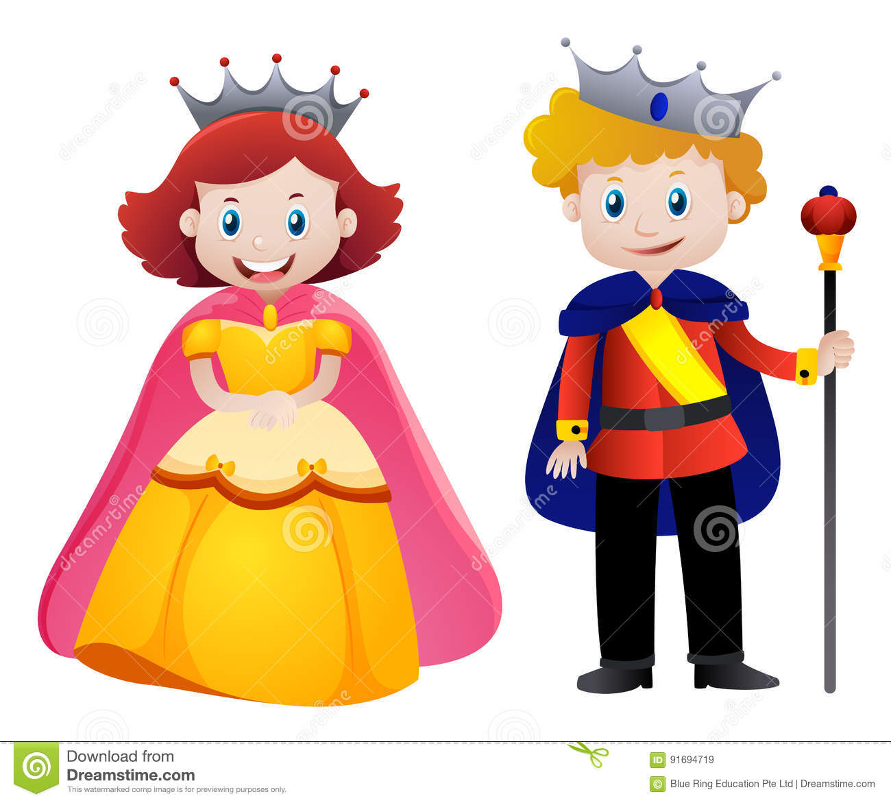 Happy king and queen stock vector. Illustration of clipart.