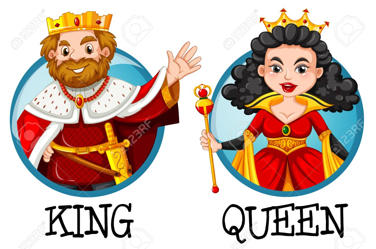King and queen on round badges illustration.