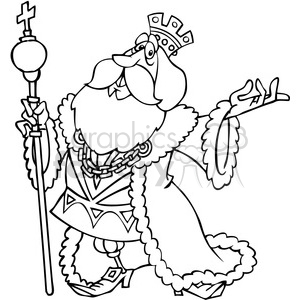cartoon king in black and white clipart. Royalty.