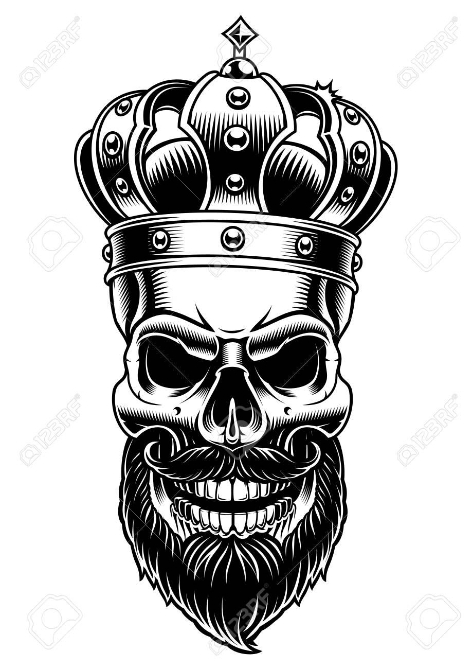 Skull of king. Vector black and white illustration on white background..