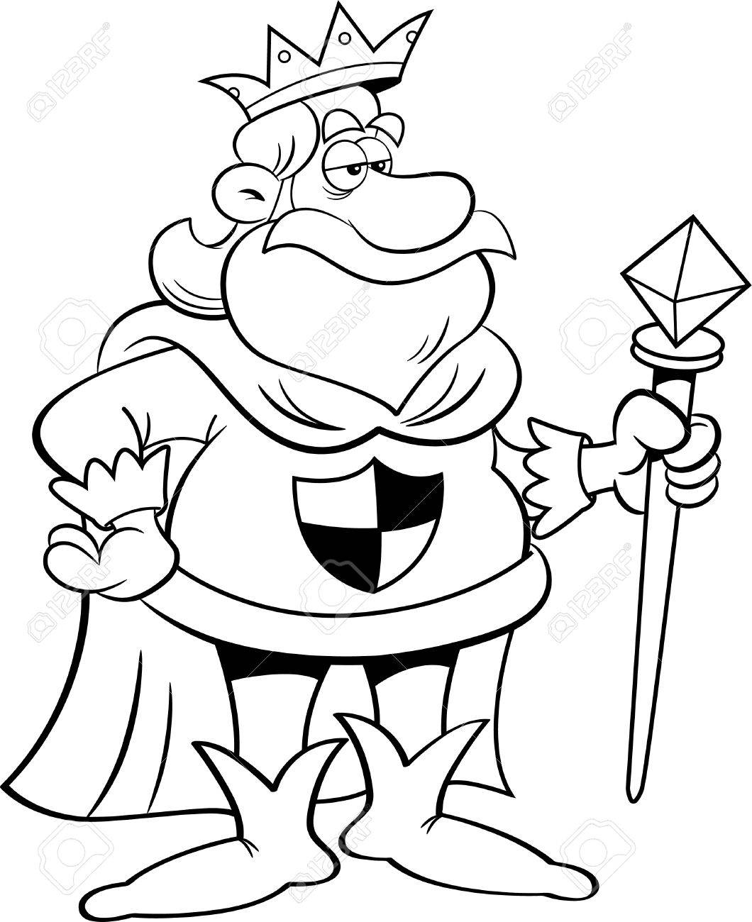 Black and white illustration of a king holding a scepter..