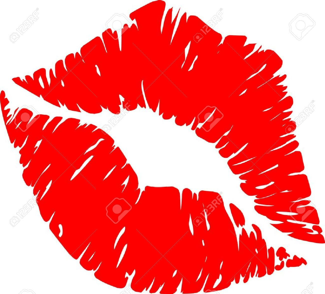 Red lips kiss clipart.