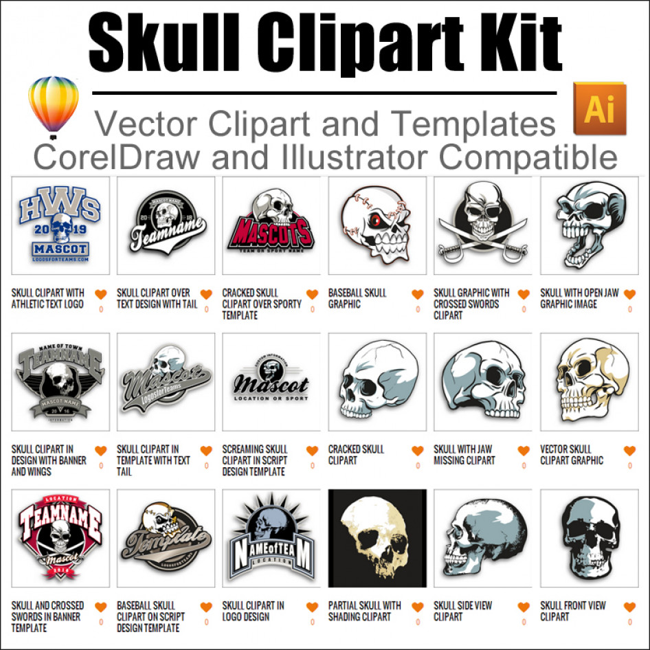 Skull Clipart Kit 01 for CorelDraw and Illustrator.
