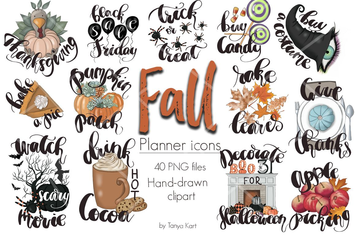 Fall Planner Icons Clipart Kit.