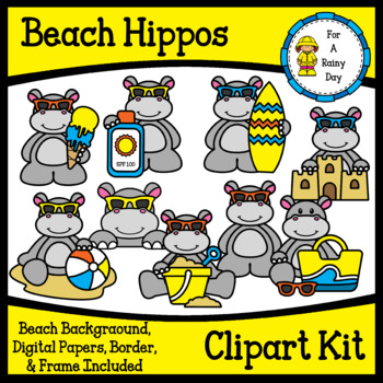 Beach/Summer Hippos Clipart Kit.