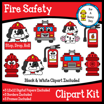 Fire Safety Clipart Kit (clipart, digital papers, borders, & frames).