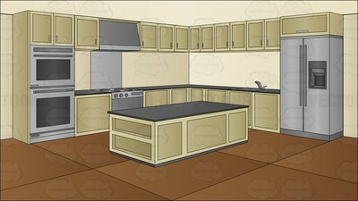 A Cooking Show Studio Background Cartoon Clipart.