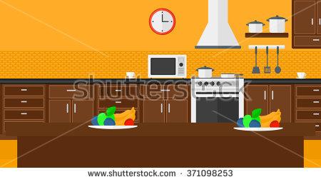 Colorful Kitchen Interior Home Vector Illustration Stock Vector.