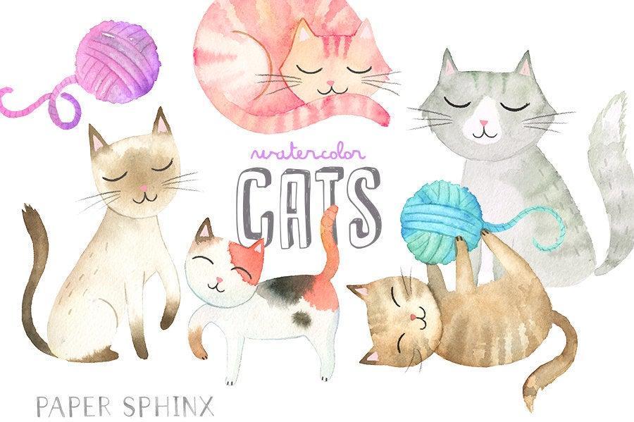 Watercolor Cats Clipart.