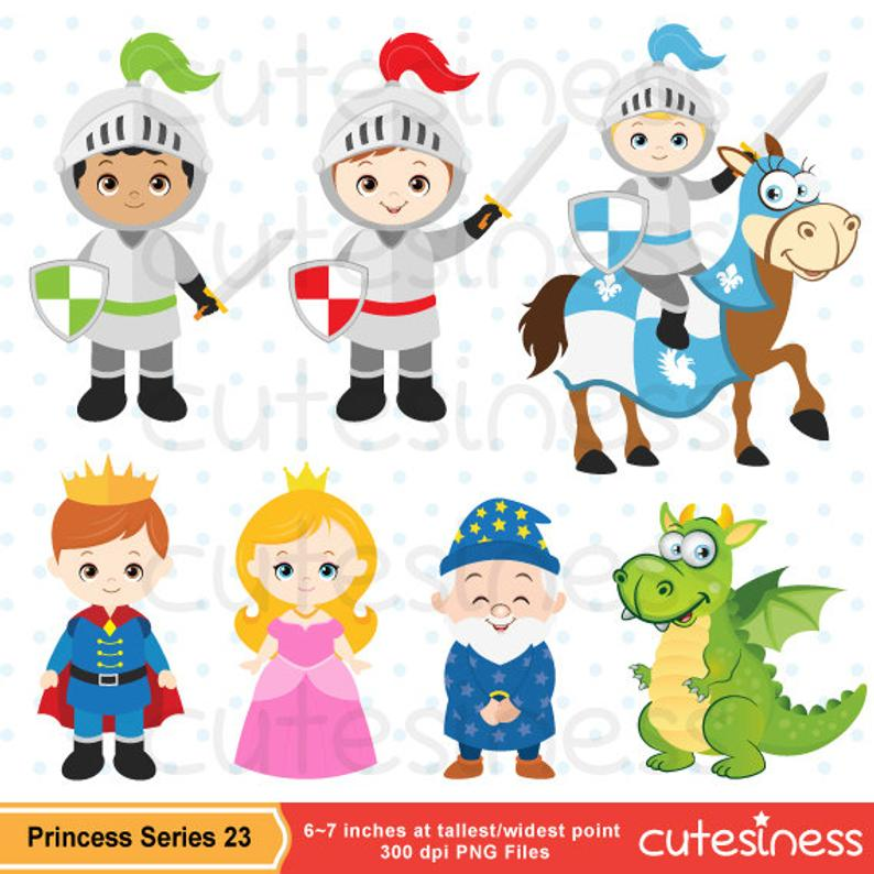 Princess Clipart, Princess Clip Art, Knight Clipart, Knight and Dragon  Clipart.