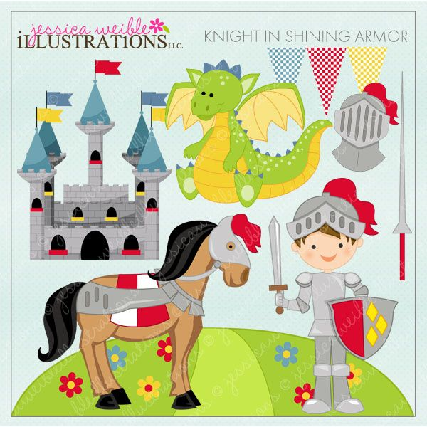 Knight in Shining Armor Clipart includes 10 adorable graphics for.