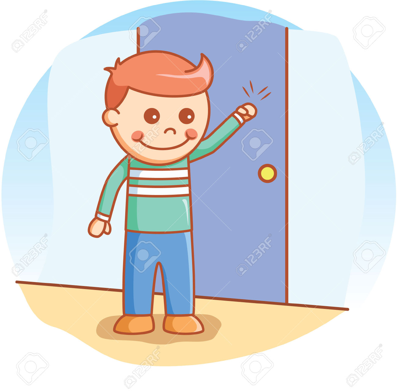 Child Knocking On Door Clipart.