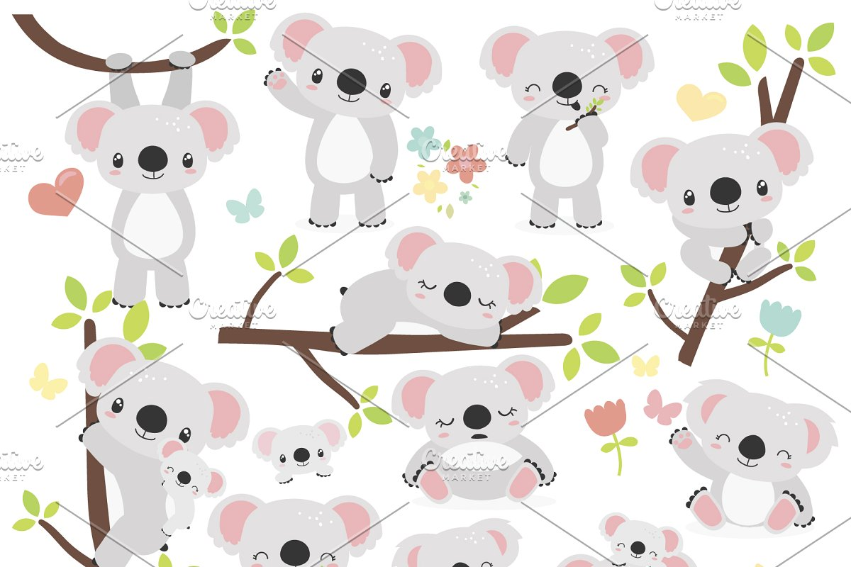 Cute Koala Bears vector clipart, SVG.