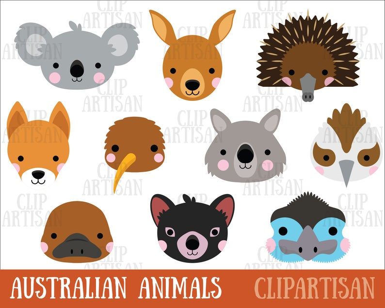 Australian Animal Faces Clipart, Koala, Kangaroo, Wombat, Party Photo Booth  Masks.