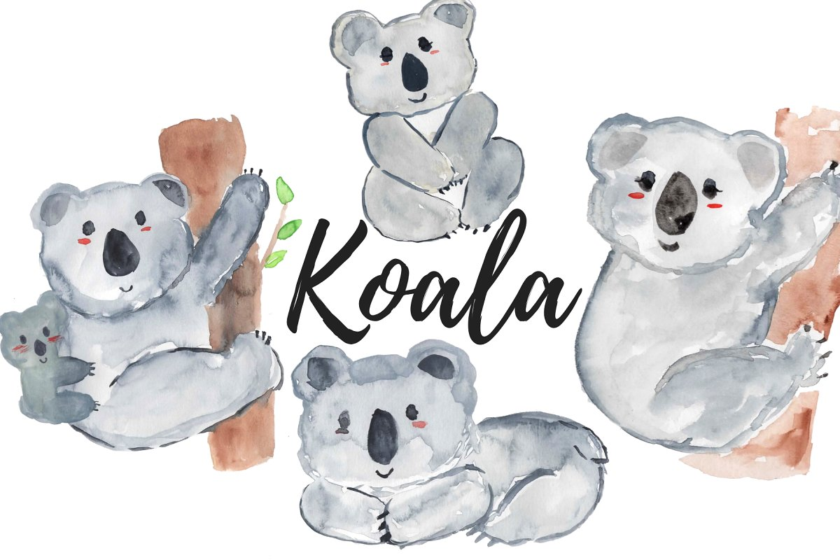 Watercolor animal koala clipart.