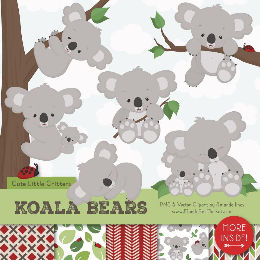Cute Koala Clipart & Patterns.